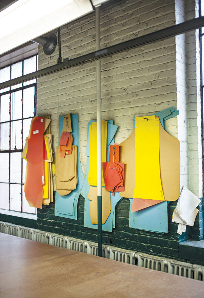 Colorful old patterns line the factory walls