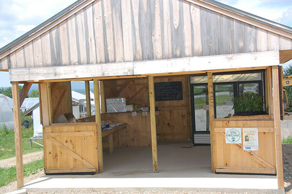 Farmstand built with Kickstarter funds, at Bahner Farm, MOFGA-certified