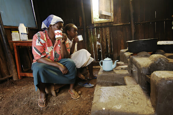 Kenyan women enjoy their farm kitchen makeover.