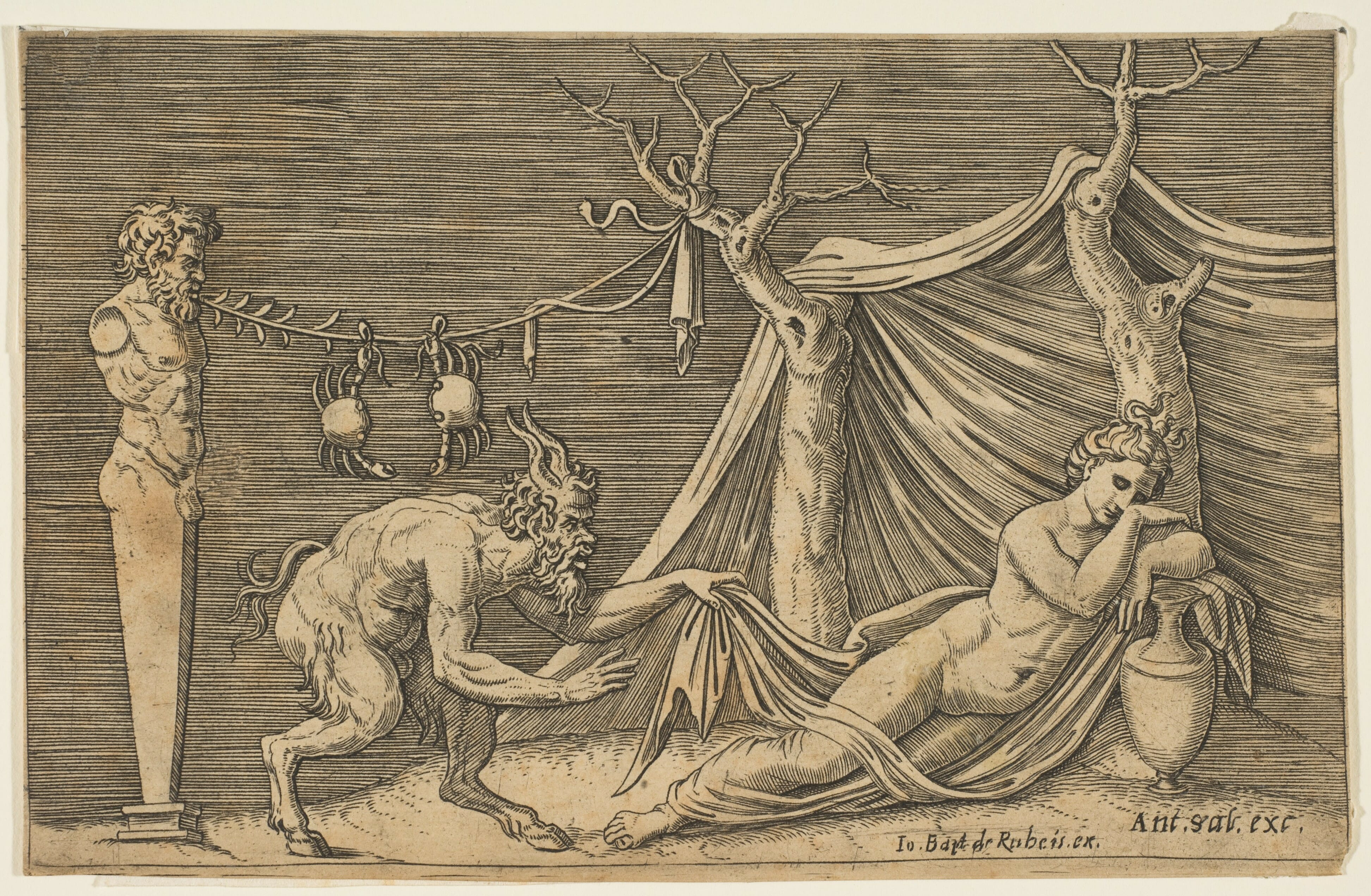 Satyr Discovering a Sleeping Nymph by Marco Dente, ca. 1515–27, Metropolitan Museum of Art. Half goat men have appeared frequently throughout history, often depicted as devilish and lascivious.