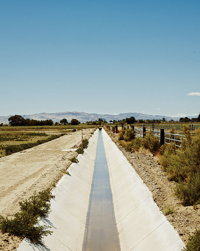 Irrigation ditches like this one are common in Fallon. The Lahontan Valley, in which the town sits, gets an average of just 4 inches of rain a year.