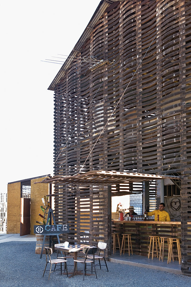 Azul Café's two-story wooden facade is made of deconstructed wine barrels.