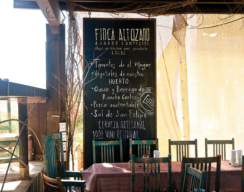 The casual à la carte approach at Finca Altozano diverges from the valley's typical multicourse tasting menu.