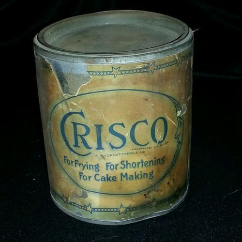 CRISCO 3 lb. Tin Can with Original Paper Label, c. 1930