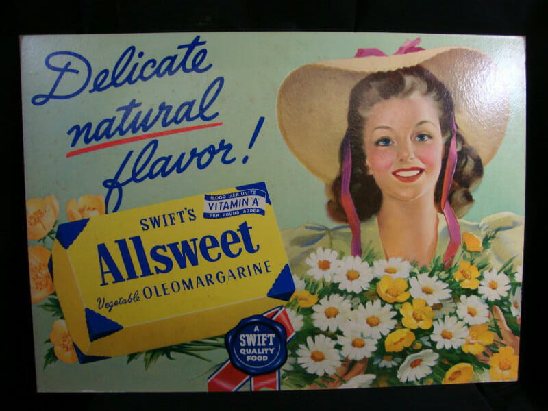 Original Grocery Display Cardboard Sign of Swift's Allsweet Vegetable Oleomargarine. c. 1940. 33 in. x 24 in.
