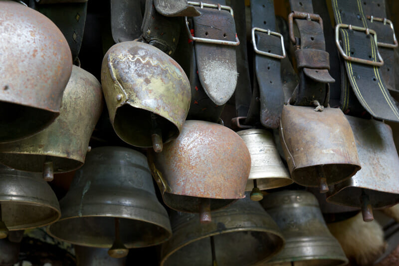 A collection of vintage Swiss cowbells.