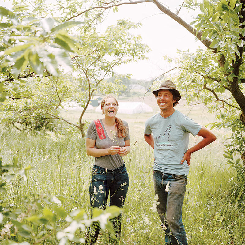 Jess Piskar and Abra Berens of Bare Knuckle Farm in their walnut grove.