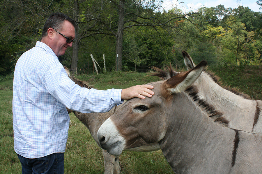 Greg Sligh and the Double H donkeys.