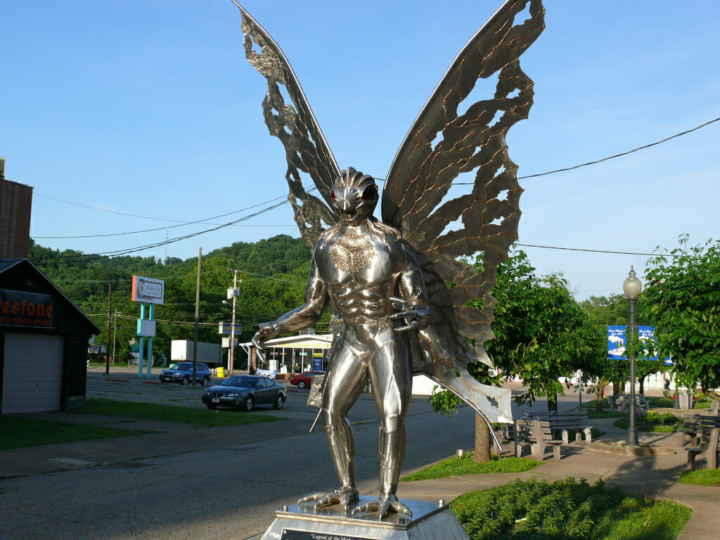 The Mothman statue in Point Pleasant, West Virginia. Via Flickr/marada.