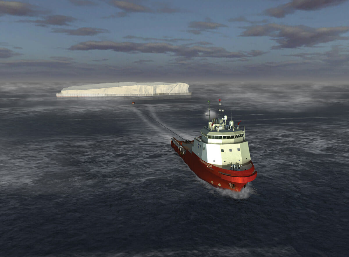 A 3-D rendering from 2011 from Dassault Systèmes of Georges Mougin's iceberg plan to deliver water to drought-stricken places.