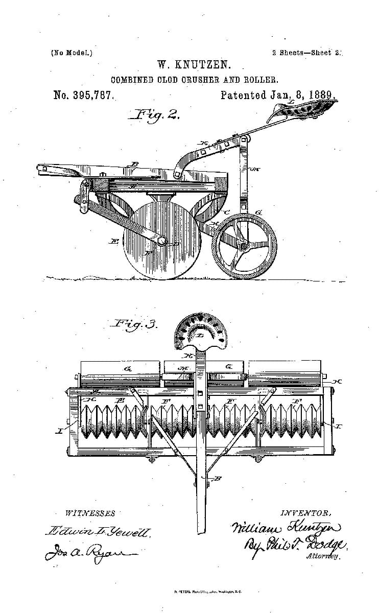A Patent for a Combined Clod Crusher and Roller, 1889.