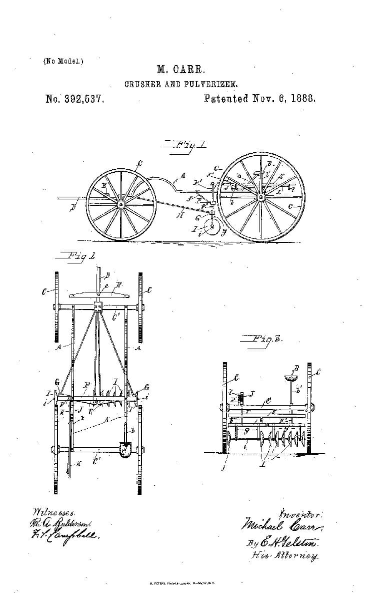 A Patent for a Crusher and Roller, 1888.
