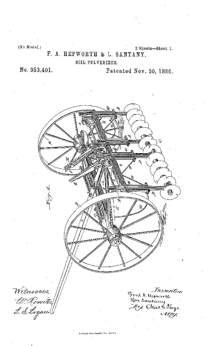 A Patent for a Soil Pulverizer, 1866.