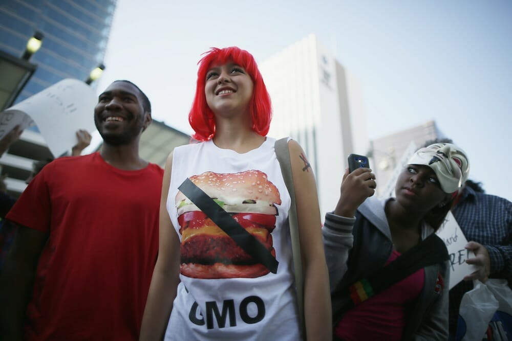 Gladys Roldan, 21, wears an anti-GMO t-shirt during one of many worldwide March Against Monsanto that took place in fall of 2013 in Los Angeles.