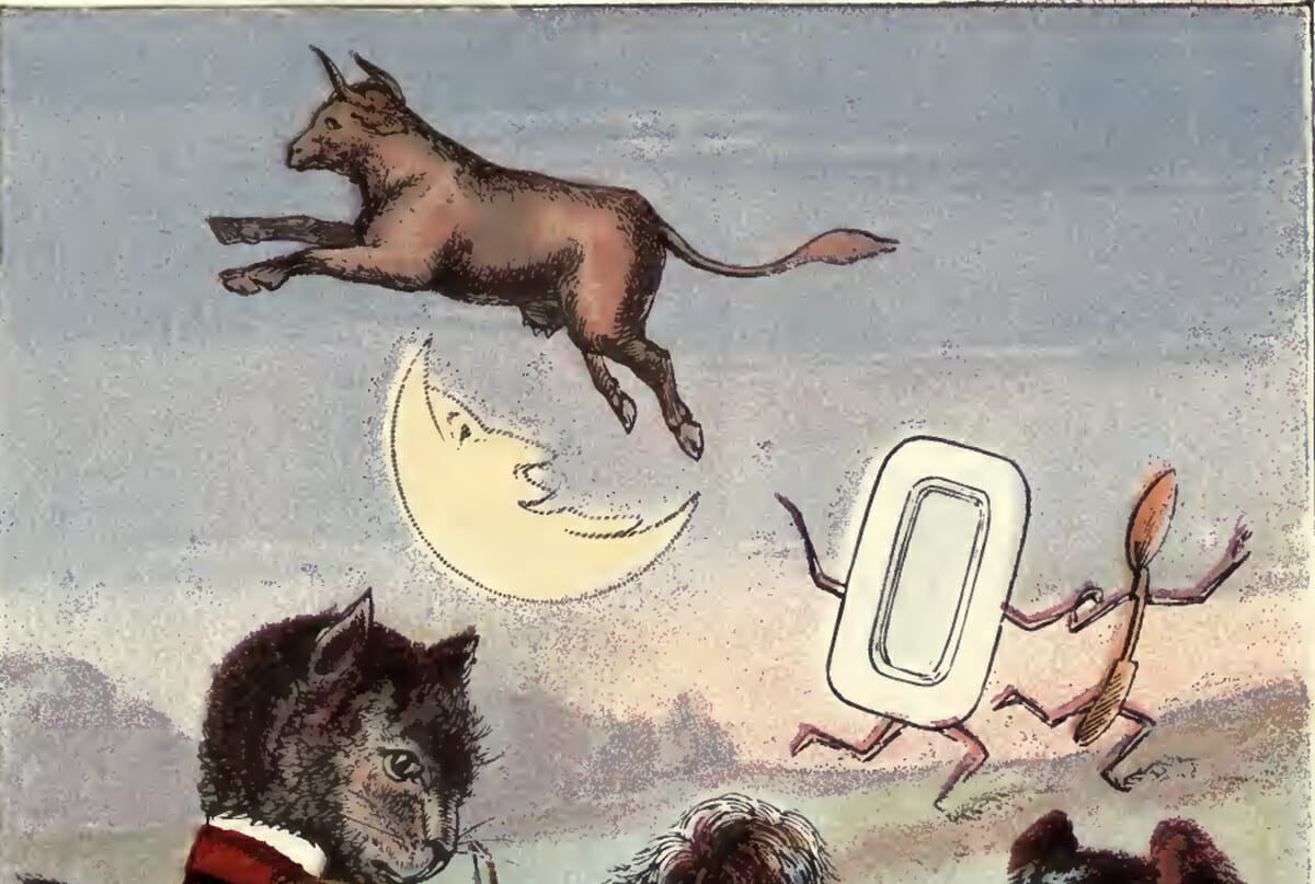 the cow jumped over the moon Photo about illustration based on a nursery rhyme of a cow jumping over the moon illustration of craters, evening, fairy - 20224706.