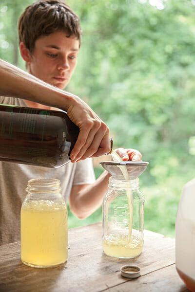 Making water kefir, a fizzy fermented drink, at fermentation expert Sandor Katz's summer residency.