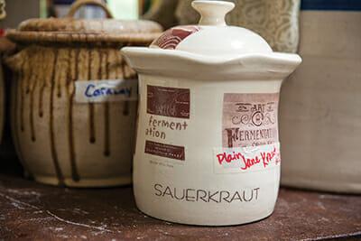 A crock of fermenting sauerkraut.