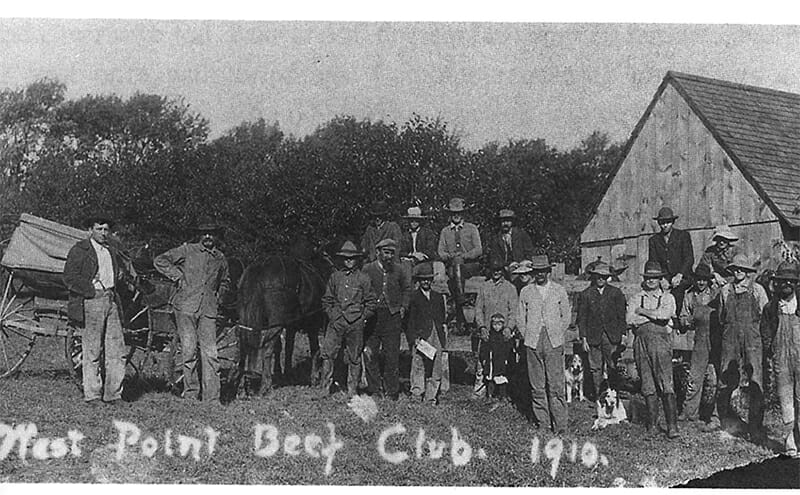 This photo, from 1910, shows men of the West Point Beef Club in Iowa. / Courtesy Evelyn Birkby; University of Iowa Press.