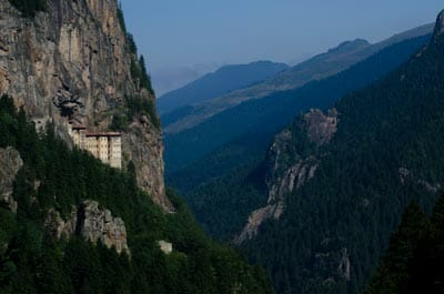 Sumela, a 1,600-year-old Greek Orthodox Monastery perched high on the cliffs of the Pontic Mountains.