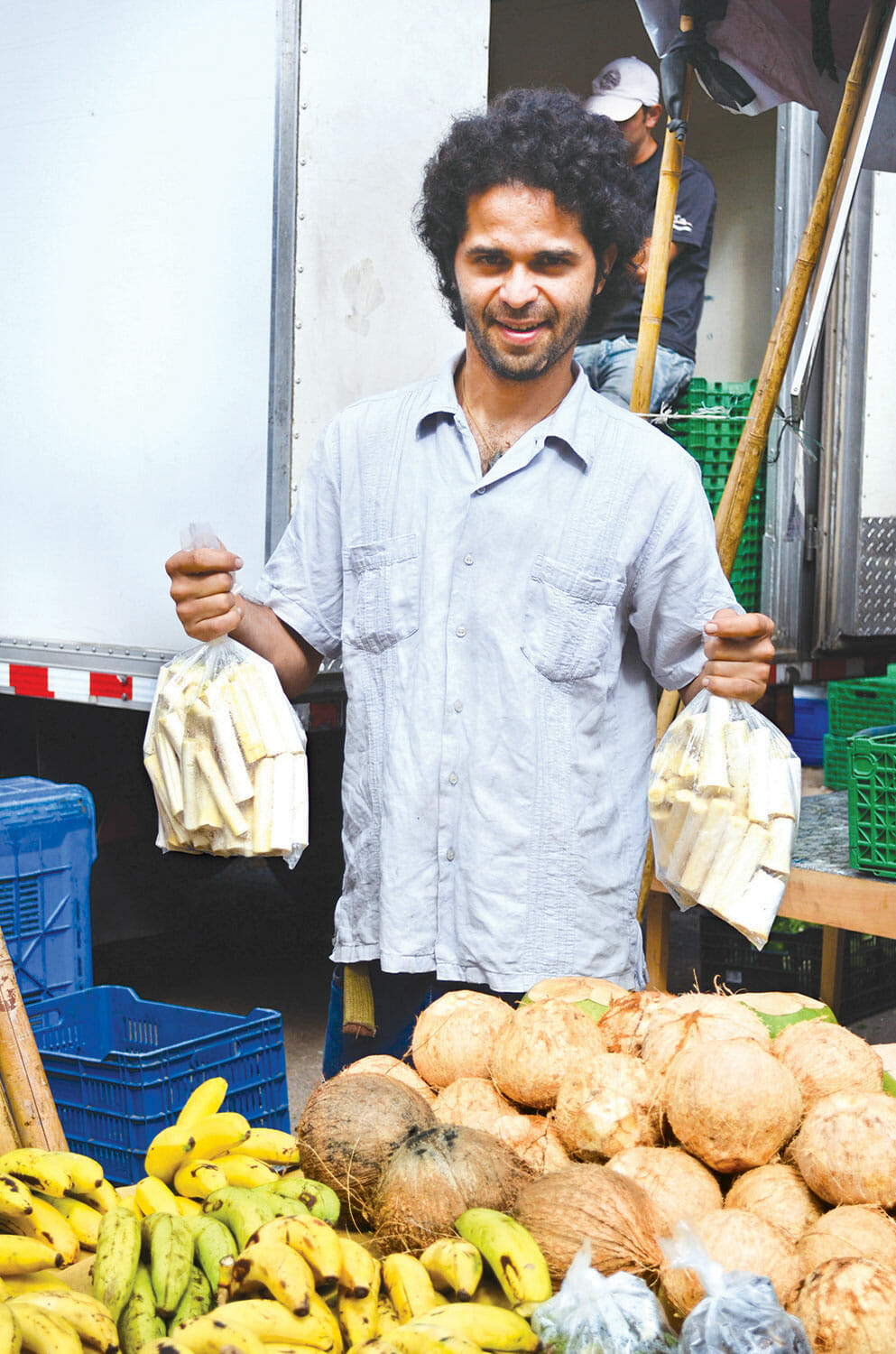 Murillo sells fresh hearts of palm at the Feria Verde market in San Jose, Costa Rica.