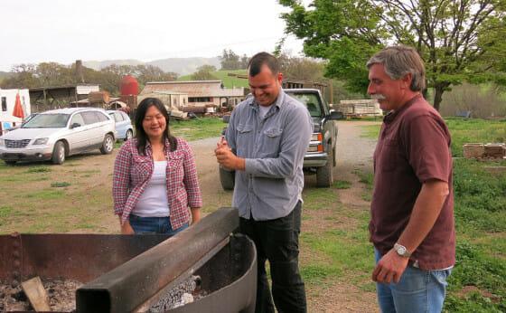 Jennifer Ko and Alex Saneski with their dairy farmer landlord, John Taverna