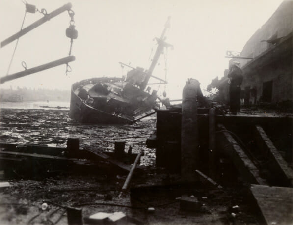 A ship destroyed in the second explosion.