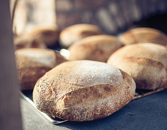 Fresh-baked bread from the oven.