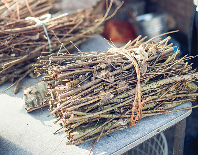 Kindling for the wood-fired ovens at In De Wulf.
