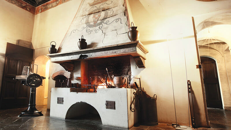 Fireplace in the entrance hall of the castle, one of 14 throughout the hotel.
