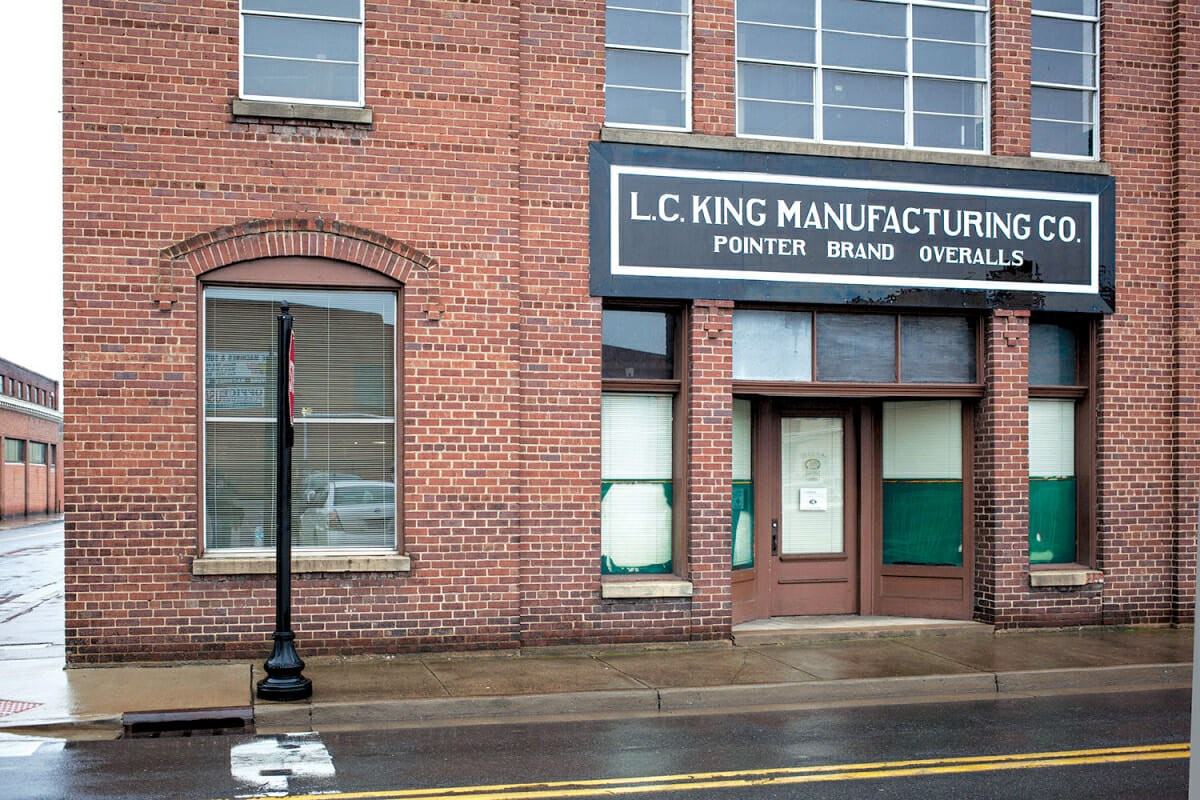 The exterior of L.C. King manufacturing in downtown Bristol