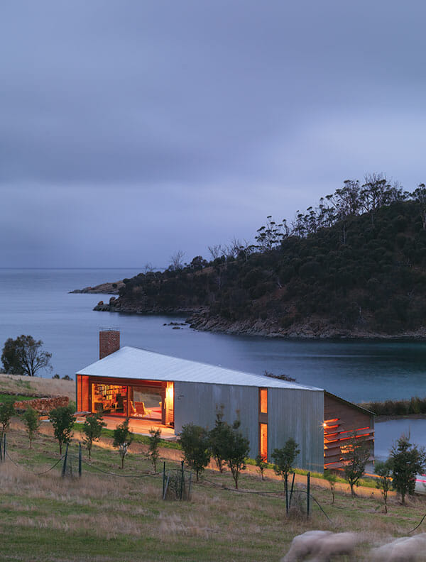 The cottage at dusk.