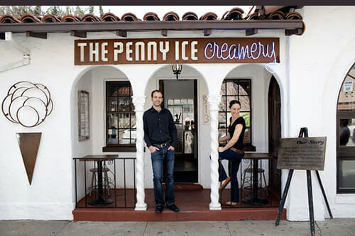 Zachary Davis and Kendra Baker at The Penny Ice Creamery in downtown Santa Cruz.