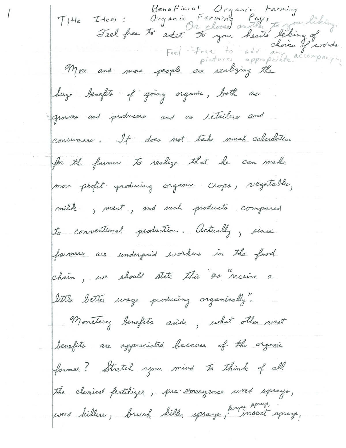A Page Handwritten Illustrated Essay From An Amish Organic  More And More People Are Realizing The Huge Benefits Of Going Organic Both  As Growers And Producers And As Retailers And Consumers Cause And Effect Essay Topics For High School also Custom Essay Papers  Secondary School English Essay