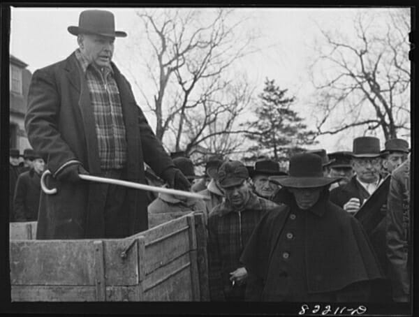 Farm auction in Lancaster County, Pennsylvania. Auction was given in English and German.