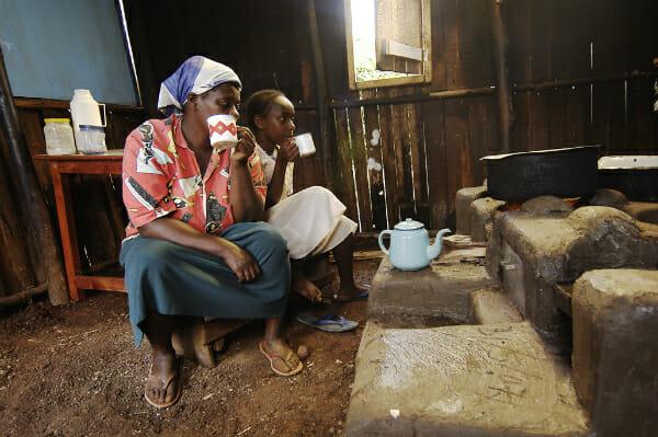 Kenyan women enjoy their farm kitchen makeover.