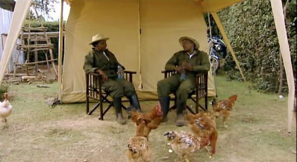 <em>Shamba Shape Up</em>'s hosts, with chickens.