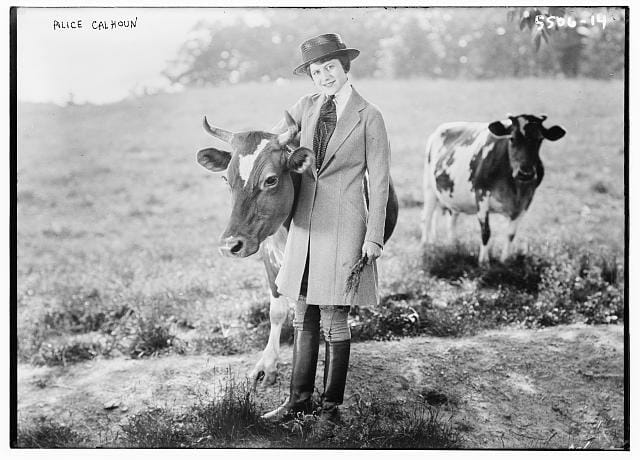Alice Calhoun and Cow 1900