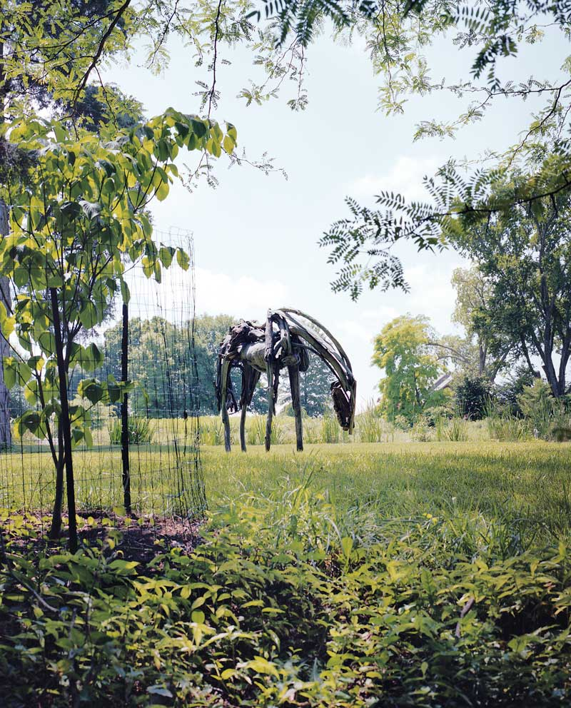 A giant horse, by Deborah Butterfield, looms above the field at Woodland.