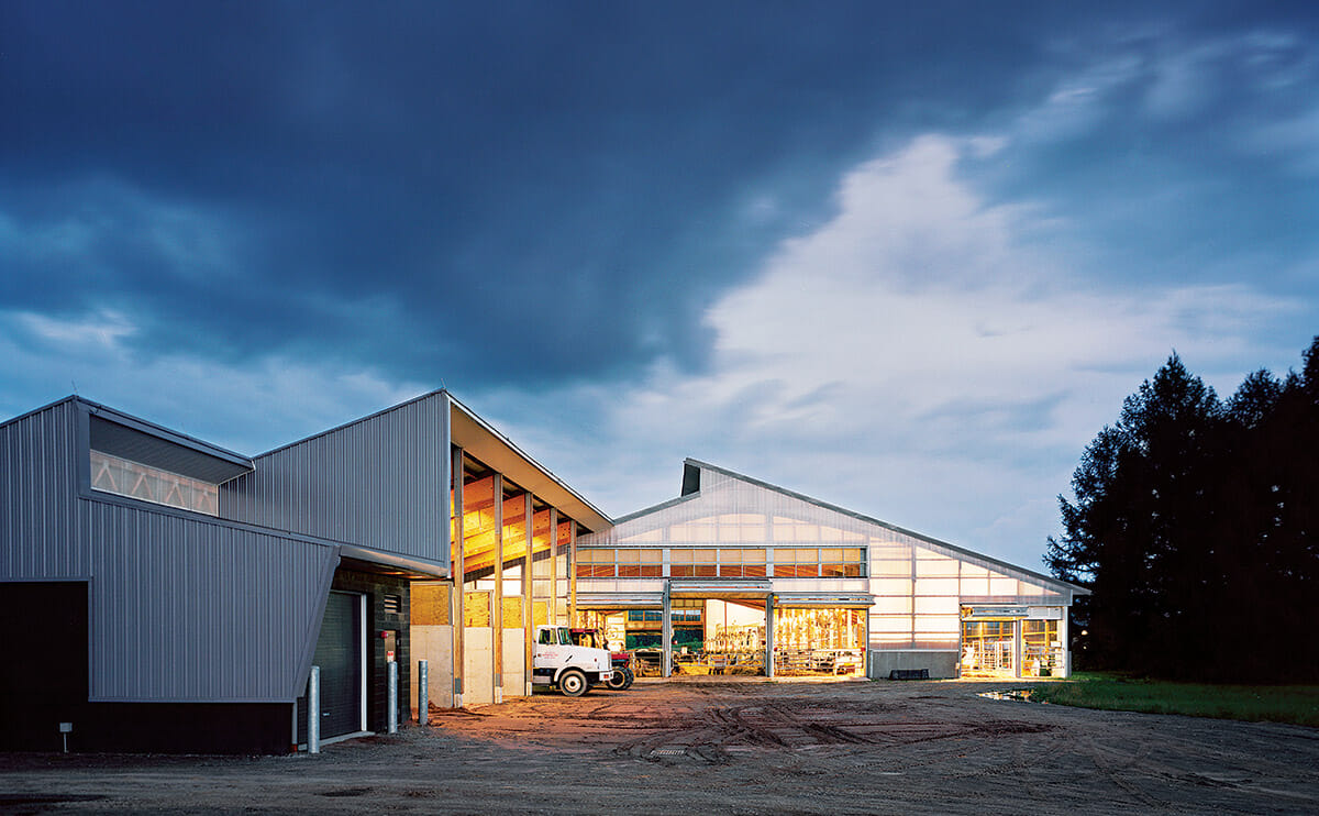 View of dairy barn at night which is on track to receive leed silver certification