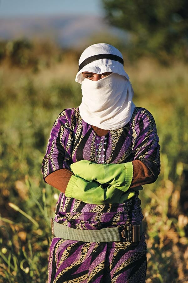 A female farm worker on Abu Ali Al-Hallak's property. Increasingly, whole Syrian families live and farm there.