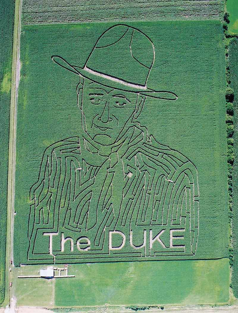 Herbst has created a number of memorial mazes, including a 2002 John Wayne portrait in Knoxville, IA / themaize.com
