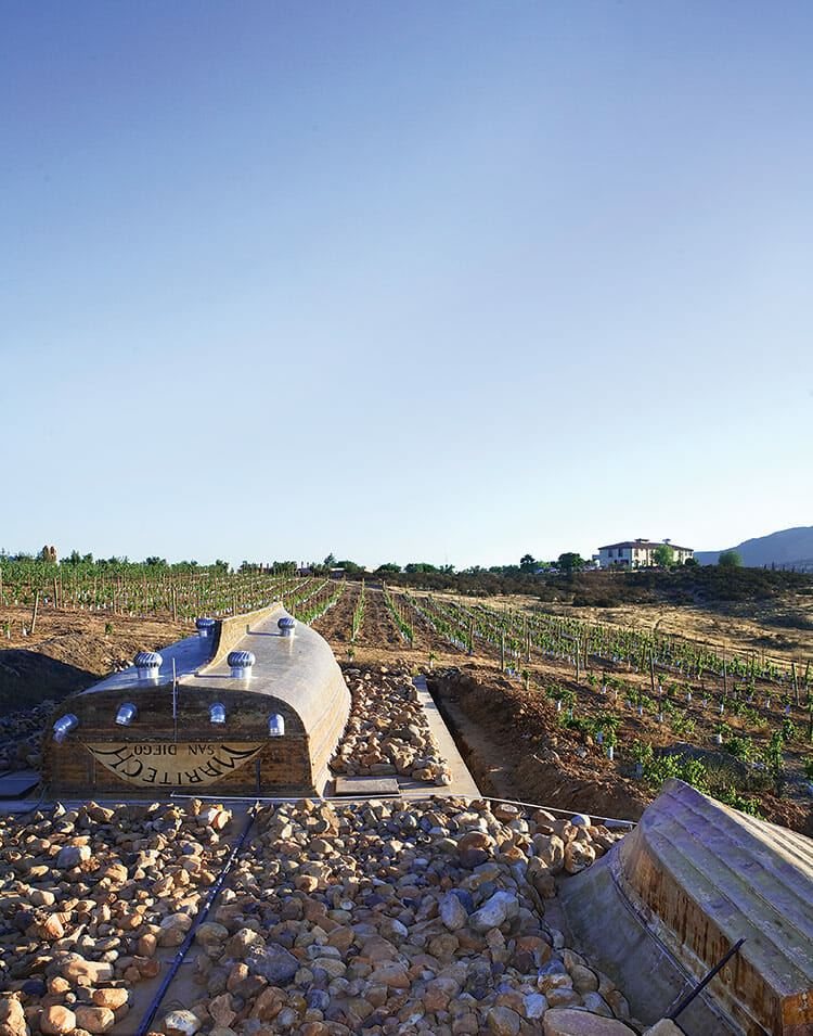 Boats serve as roofs for wine-tasting and aging rooms at La Villa del Valle.