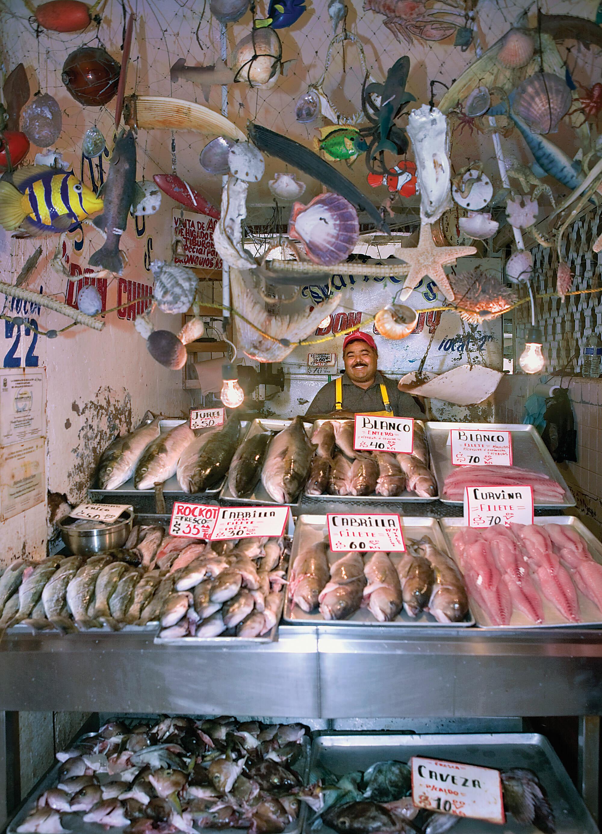 Locally caught seafood for sale at Mercado de Mariscos.