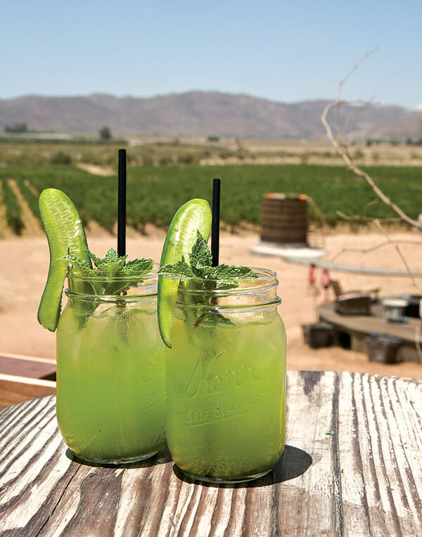 Finca Altozano's refreshing agua de pepino is made with local cucumber and mint from the restaurant garden.