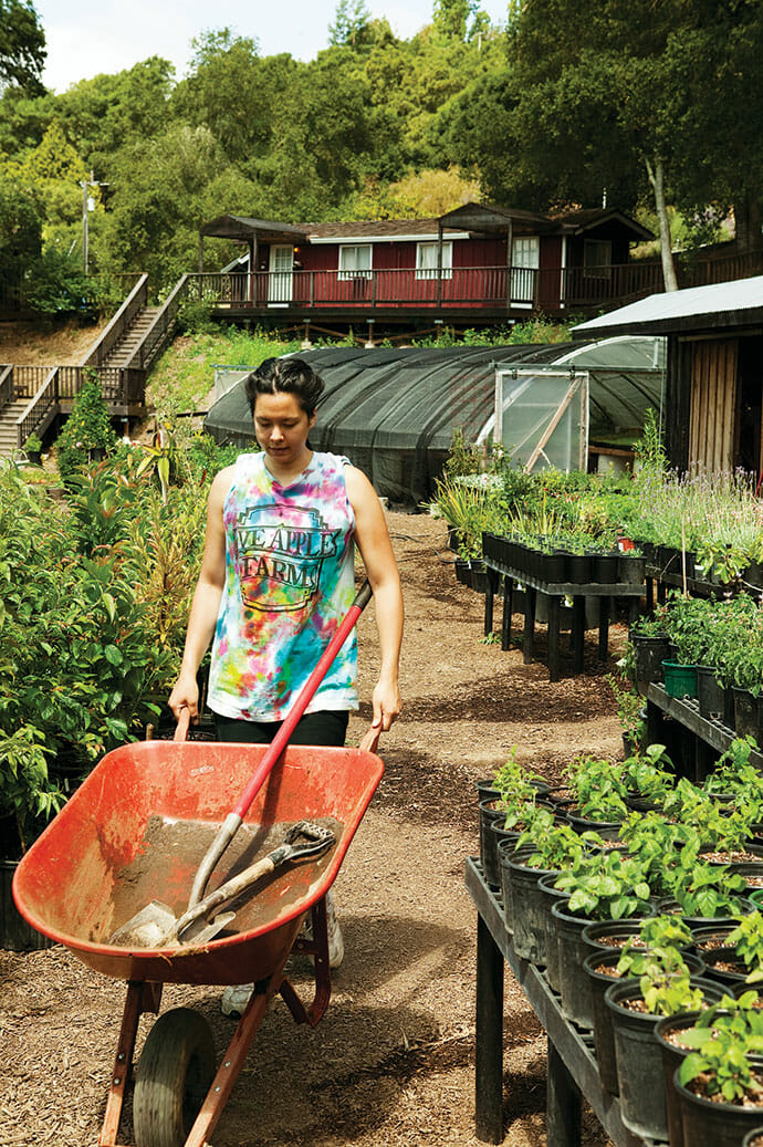 A student heads off to amend (or add compost to ) a garden bed.