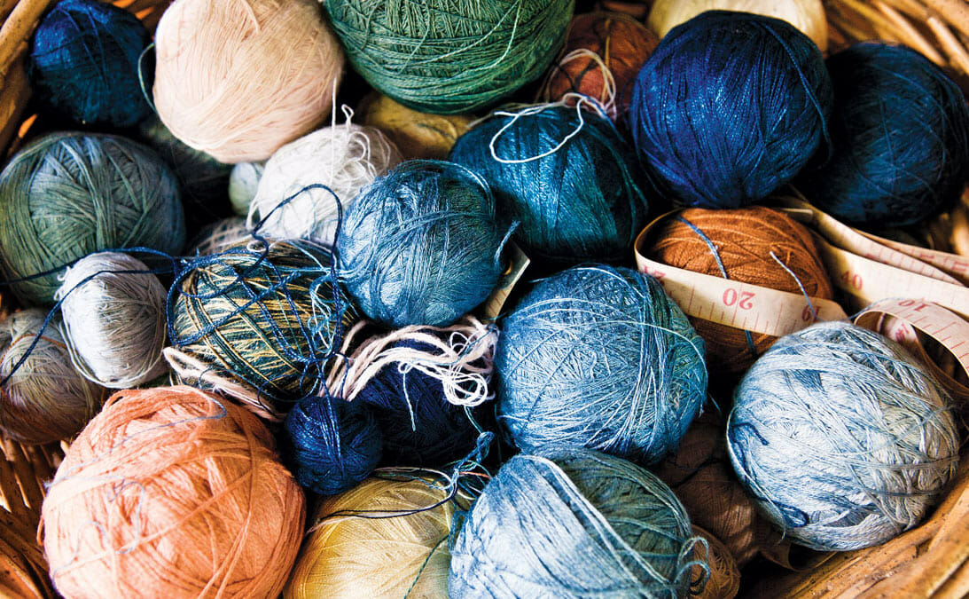 Thread in natural dye colors.