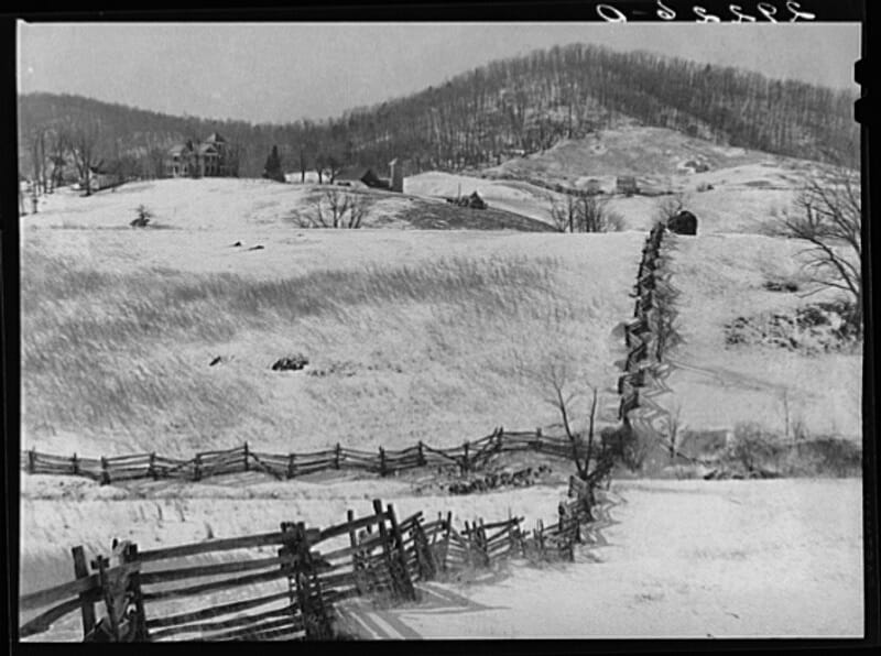 Mountain farm. Rappahannock County, Virginia. Photographer: Arthur Rothstein, ca. January 1940.