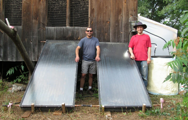 Board member Dan Marks and Research Director Abe Noe-Hays built a solar pasteurizer in 2012 to sanitize 50 gallon batches of urine.