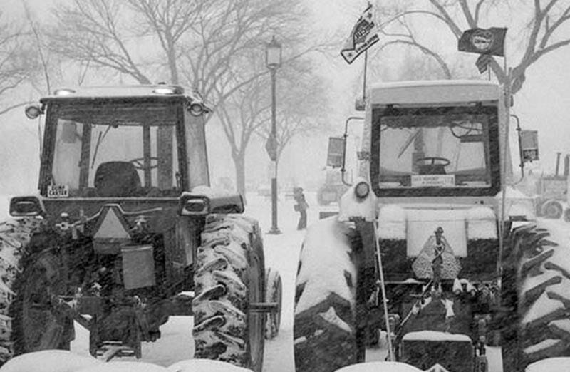 Tractors following President's Day weekend blizzard. Photo courtesy of the Smithsonian Institute. Photo by Jeff Tinsley.
