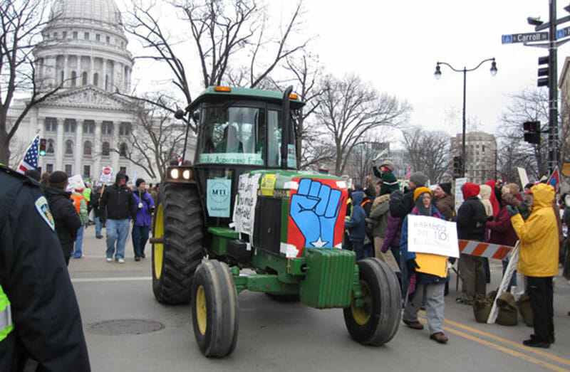 Tractorcade in Madison, Wisc. Photo courtesy of SEIU International. Photo by Jeff Miller.